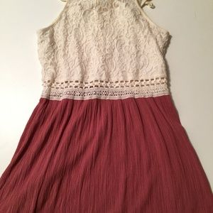 Rue21 flowy lace crochet dress rose skirt Large